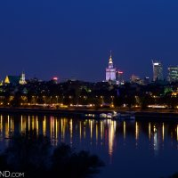 Warsaw old town and the city at night