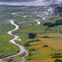 Biebrza River Seen From A Hot Air Balloon