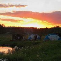 Camping in the wild on the banks of the Czarna Hańcza River
