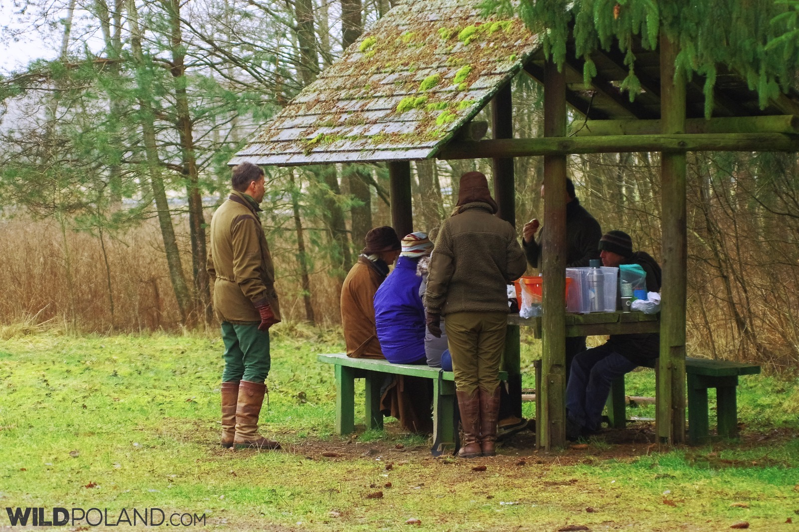 Wild Poland group having a short coffee break, photo by Andrzej Petryna