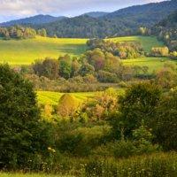 Breathtaking sunset in the Bieszczady Mountains, Eastern Carpathians